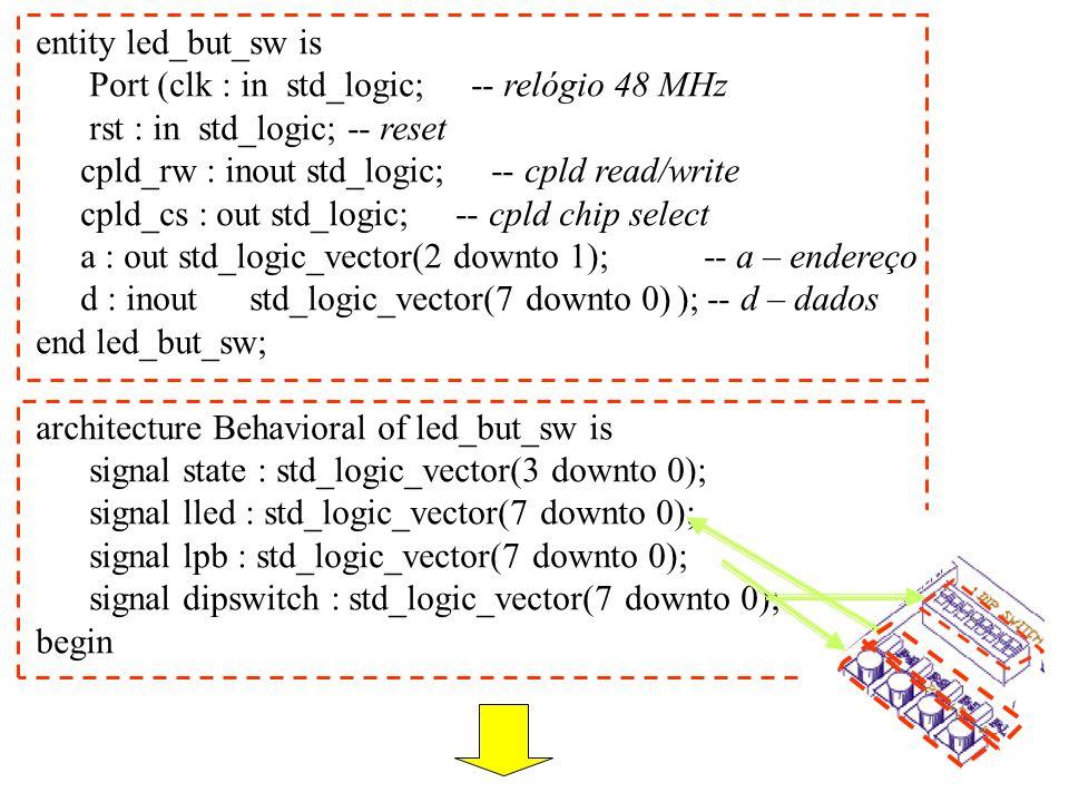 process(clk, rst) – processo que descreve a sequência dos estados begin if rst= 0 then state 0 ); -- state = 00…0 elsif rising_edge(clk) then state<= state + 1; -- incrementar o estado end if; end process; process(clk, rst) – processo que descreve a interacção com o CPLD begin if rst= 0 then cpld_cs <= 1 ; elsif (clk= 0 and clk event) then
