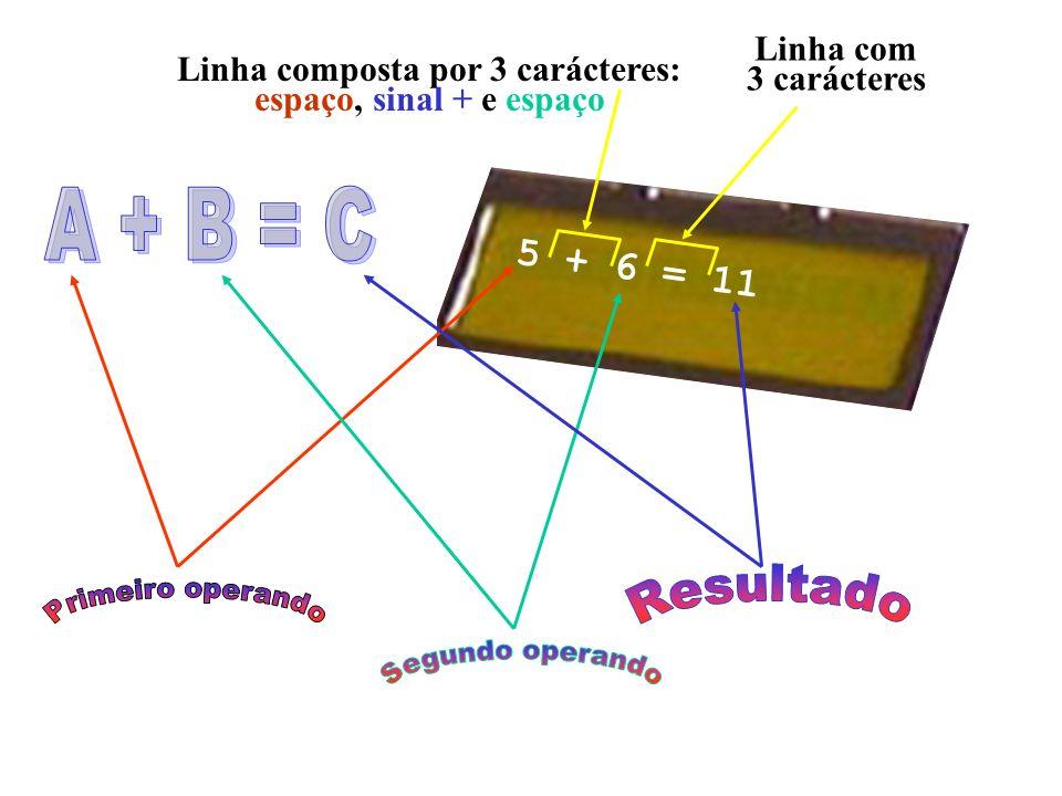 5 + 6 = 11 Linha composta por 3 carácteres: espaço, sinal + e espaço Linha com 3 carácteres