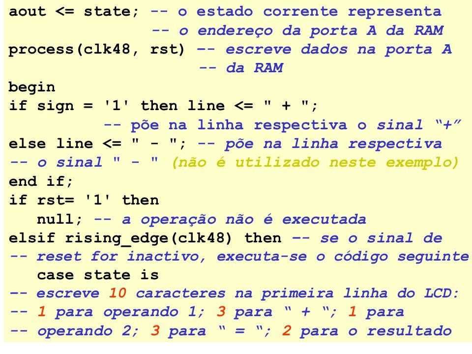 aout <= state; -- o estado corrente representa -- o endereço da porta A da RAM process(clk48, rst) –- escreve dados na porta A -- da RAM begin if sign