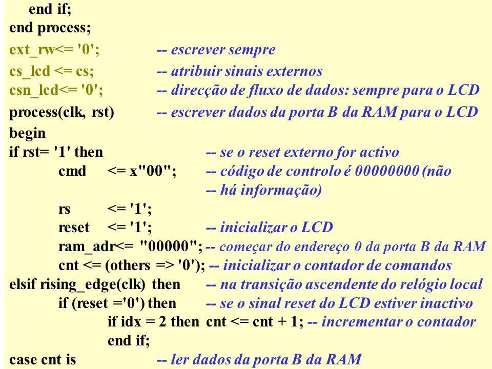 end if; end process; ext_rw<= 0 ;-- escrever sempre cs_lcd <= cs;-- atribuir sinais externos csn_lcd<= 0 ;-- direcção de fluxo de dados: sempre para o LCD process(clk, rst)-- escrever dados da porta B da RAM para o LCD begin if rst= 1 then-- se o reset externo for activo cmd<= x 00 ; -- código de controlo é 00000000 (não -- há informação) rs<= 1 ; reset<= 1 ;-- inicializar o LCD ram_adr<= 00000 ; -- começar do endereço 0 da porta B da RAM cnt 0 ); -- inicializar o contador de comandos elsif rising_edge(clk) then-- na transição ascendente do relógio local if (reset = 0 ) then-- se o sinal reset do LCD estiver inactivo if idx = 2 thencnt <= cnt + 1; -- incrementar o contador end if; case cnt is-- ler dados da porta B da RAM