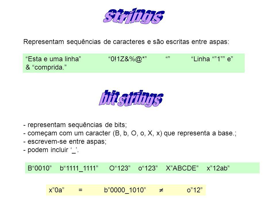 Representam sequências de caracteres e são escritas entre aspas: Esta e uma linha0!1Z&%@* Linha 1 e & comprida.