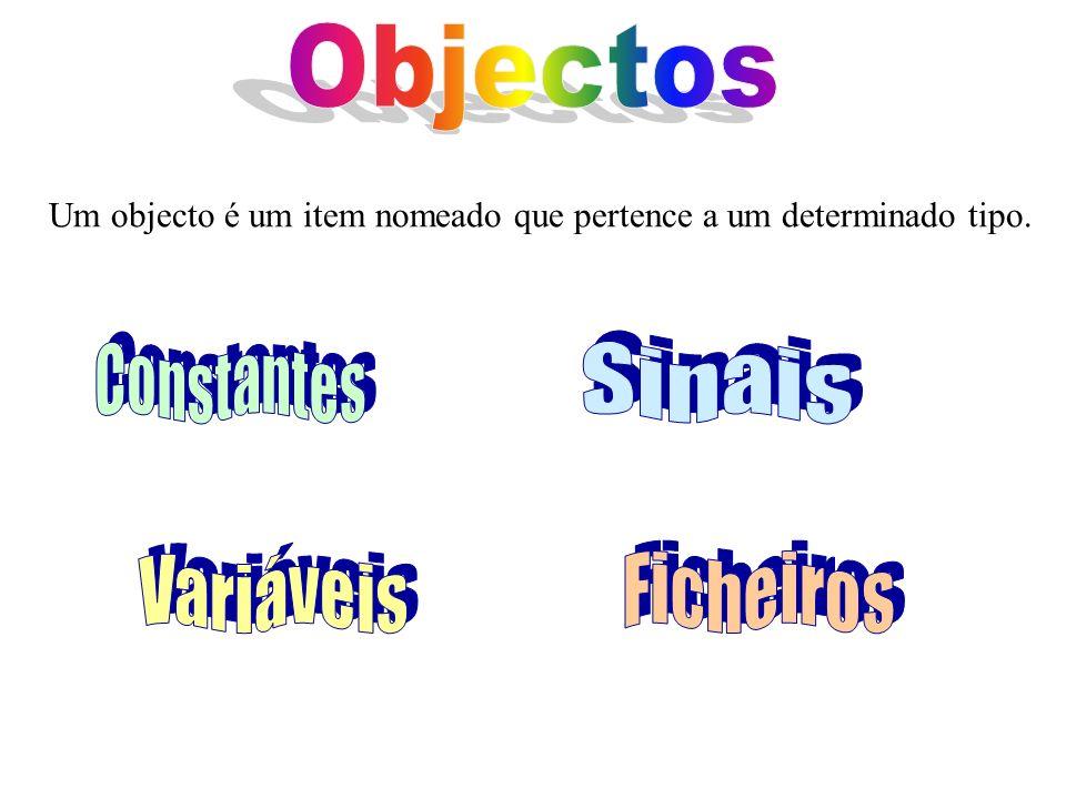 Um objecto é um item nomeado que pertence a um determinado tipo.