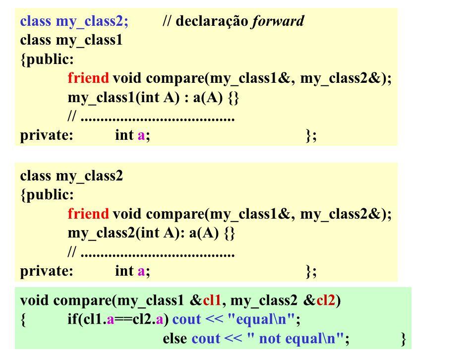 class my_class2;// declaração forward class my_class1 {public: friend void compare(my_class1&, my_class2&); my_class1(int A) : a(A) {} //.............