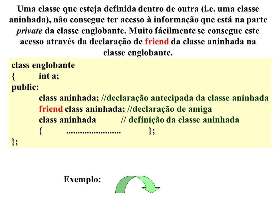 class englobante {int a; public: class aninhada; //declaração antecipada da classe aninhada friend class aninhada; //declaração de amiga class aninhad