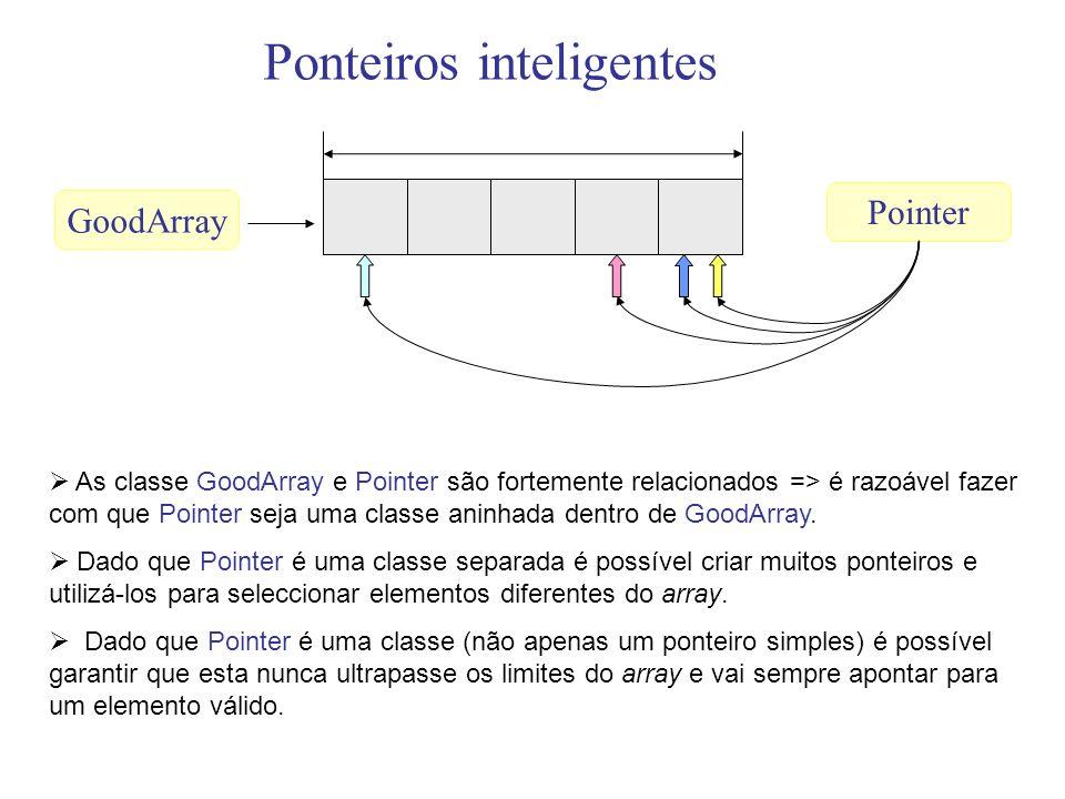 As classe GoodArray e Pointer são fortemente relacionados => é razoável fazer com que Pointer seja uma classe aninhada dentro de GoodArray. Dado que P