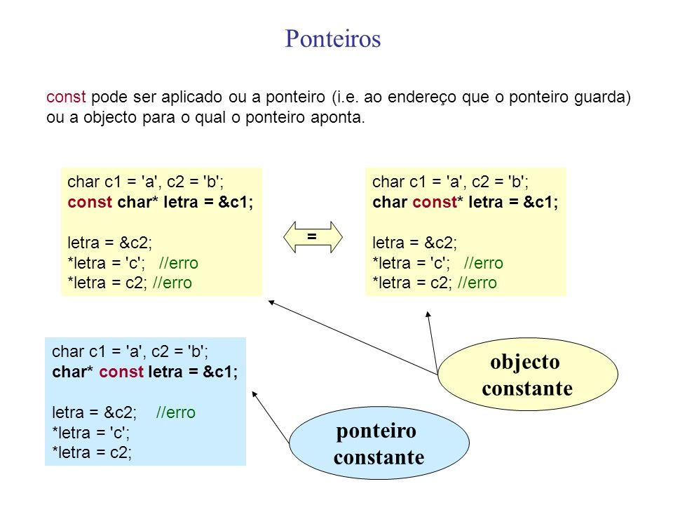 Ponteiros const pode ser aplicado ou a ponteiro (i.e. ao endereço que o ponteiro guarda) ou a objecto para o qual o ponteiro aponta. char c1 = 'a', c2