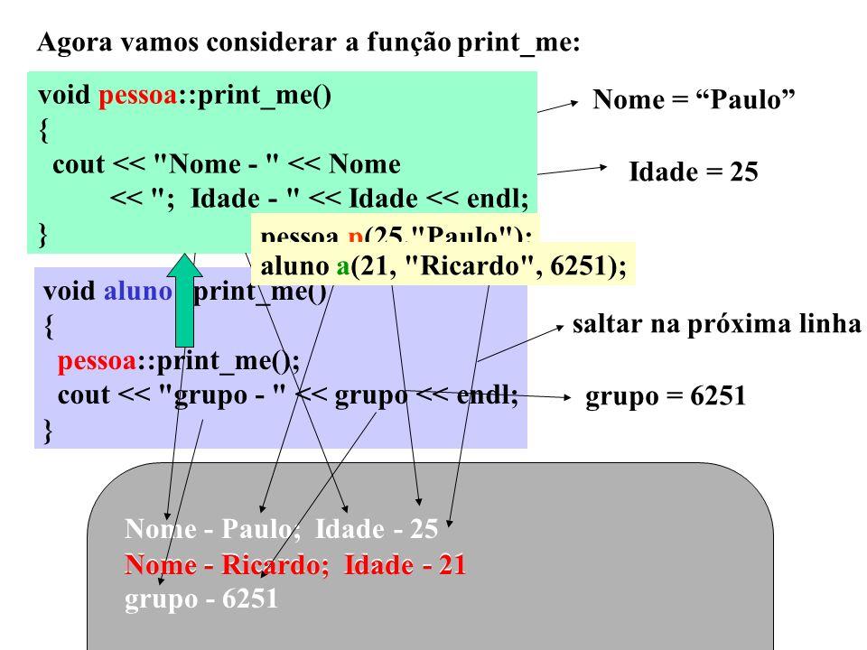 Agora vamos considerar a função print_me: void pessoa::print_me() { cout <<