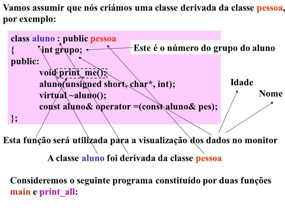 Vamos assumir que nós criámos uma classe derivada da classe pessoa, por exemplo: class aluno : public pessoa { int grupo; public: void print_me(); alu
