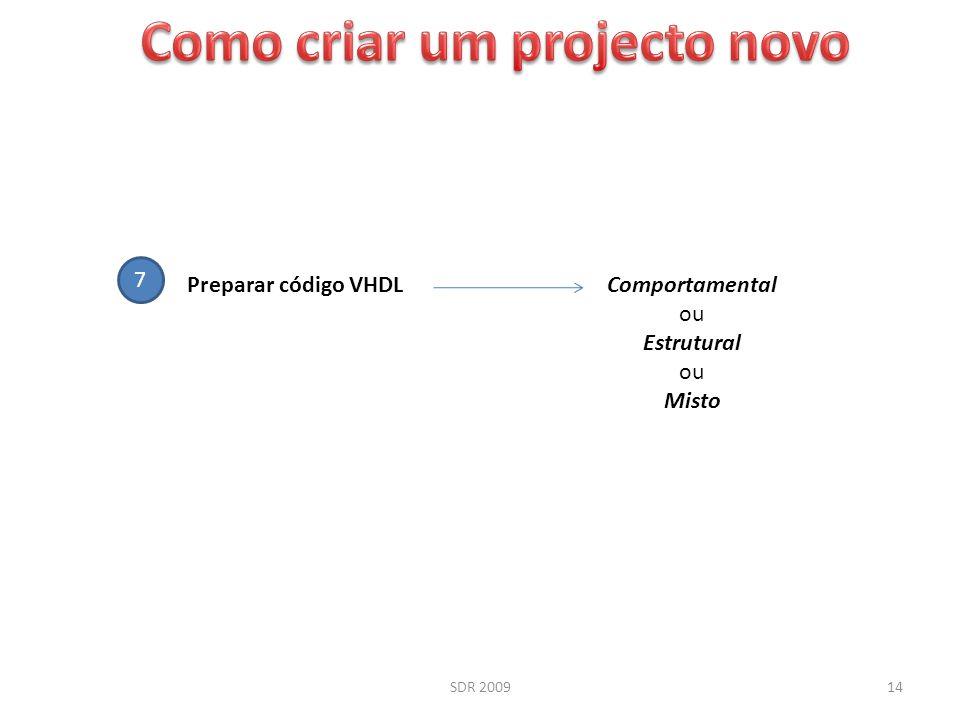 SDR 200914 7 Preparar código VHDLComportamental ou Estrutural ou Misto
