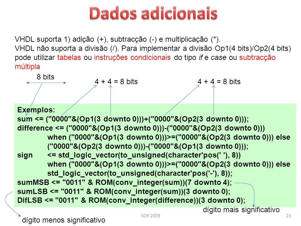 SDR 200923 VHDL suporta 1) adição (+), subtracção (-) e multiplicação (*). VHDL não suporta a divisão (/). Para implementar a divisão Op1(4 bits)/Op2(