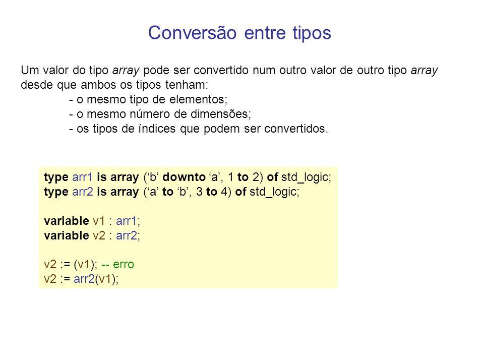Conversão entre tipos Um valor do tipo array pode ser convertido num outro valor de outro tipo array desde que ambos os tipos tenham: - o mesmo tipo de elementos; - o mesmo número de dimensões; - os tipos de índices que podem ser convertidos.