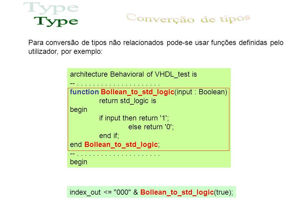 Para conversão de tipos não relacionados pode-se usar funções definidas pelo utilizador, por exemplo: architecture Behavioral of VHDL_test is --.....................
