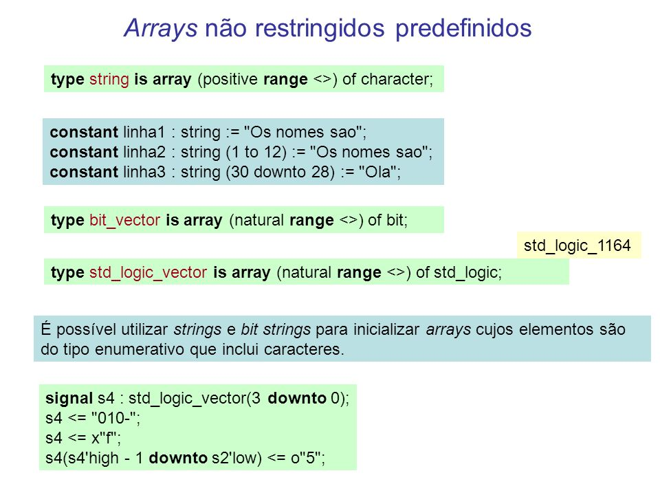 Arrays não restringidos predefinidos type string is array (positive range <>) of character; constant linha1 : string := Os nomes sao ; constant linha2 : string (1 to 12) := Os nomes sao ; constant linha3 : string (30 downto 28) := Ola ; type bit_vector is array (natural range <>) of bit; type std_logic_vector is array (natural range <>) of std_logic; É possível utilizar strings e bit strings para inicializar arrays cujos elementos são do tipo enumerativo que inclui caracteres.
