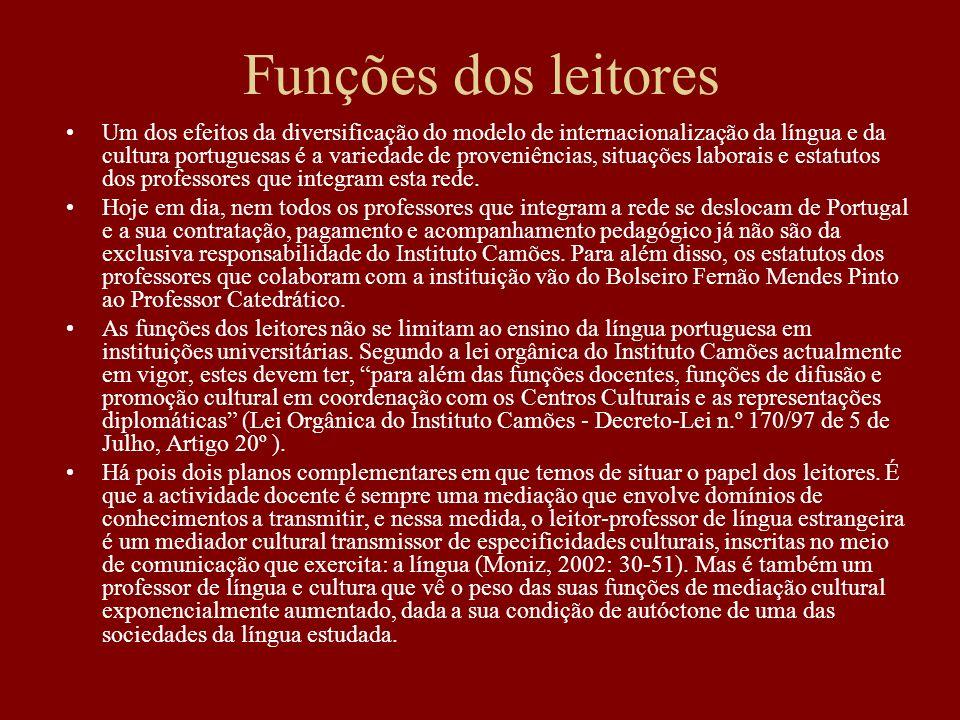 Um dos efeitos da diversificação do modelo de internacionalização da língua e da cultura portuguesas é a variedade de proveniências, situações laborai