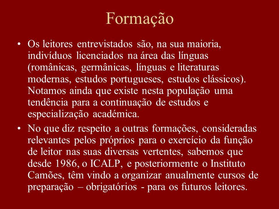 Formação Os leitores entrevistados são, na sua maioria, indivíduos licenciados na área das línguas (românicas, germânicas, línguas e literaturas moder