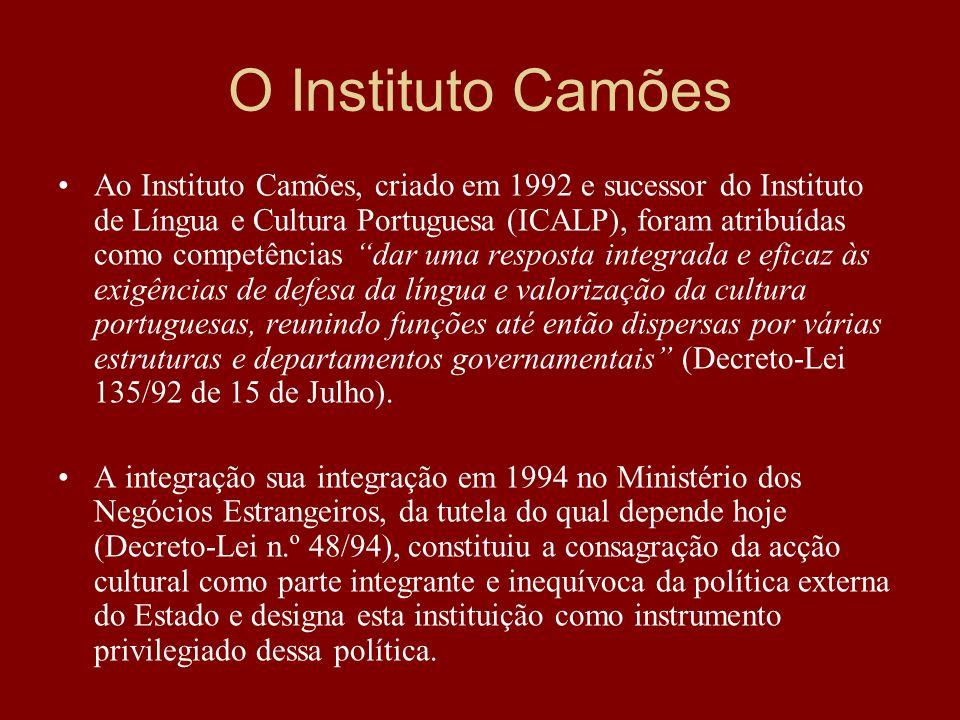Ao Instituto Camões, criado em 1992 e sucessor do Instituto de Língua e Cultura Portuguesa (ICALP), foram atribuídas como competências dar uma respost