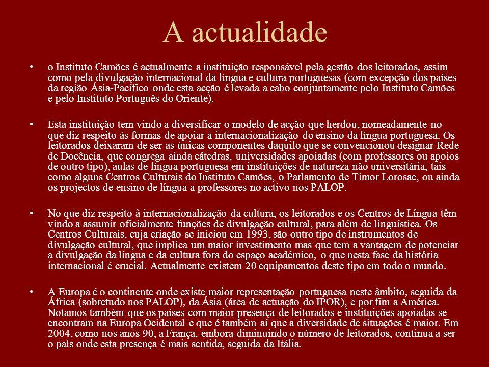 A actualidade o Instituto Camões é actualmente a instituição responsável pela gestão dos leitorados, assim como pela divulgação internacional da língu