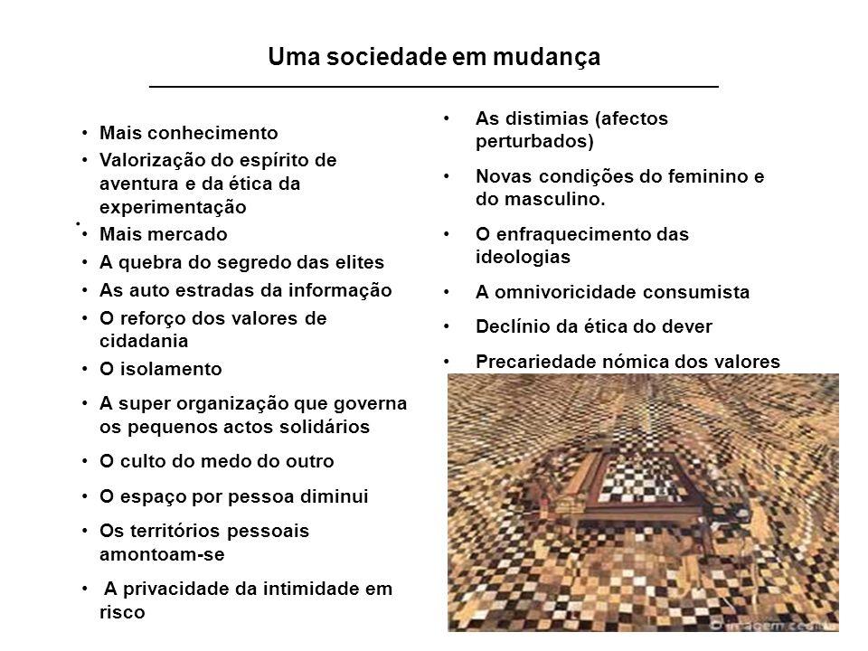 19 Uma sociedade em mudança _______________________________________________________________________. As distimias (afectos perturbados) Novas condiçõe