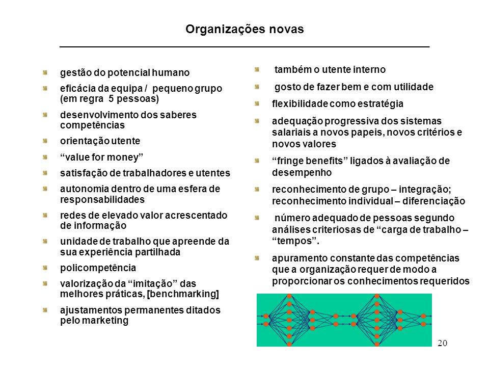 20 Organizações novas ______________________________________________________________________ gestão do potencial humano eficácia da equipa / pequeno g