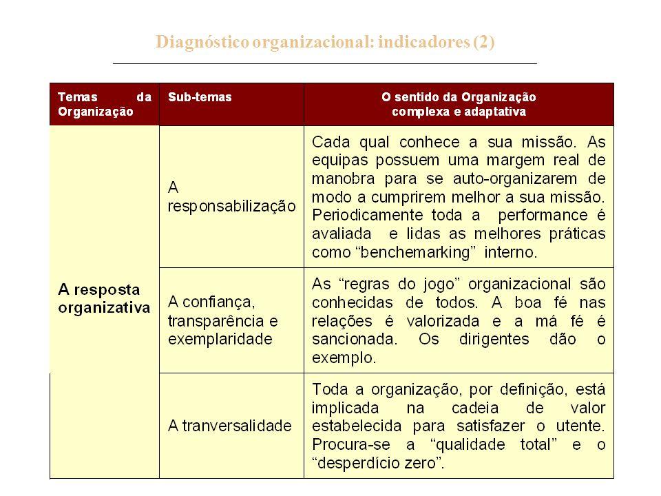 26 Diagnóstico organizacional: indicadores (2) _____________________________________________________________________________.