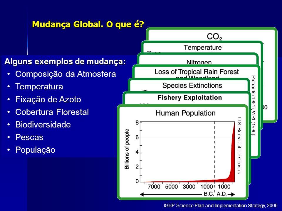 Alguns exemplos de mudança: Composição da Atmosfera Temperatura Fixação de Azoto Cobertura Florestal Biodiversidade Pescas População NOAA Mudança Glob