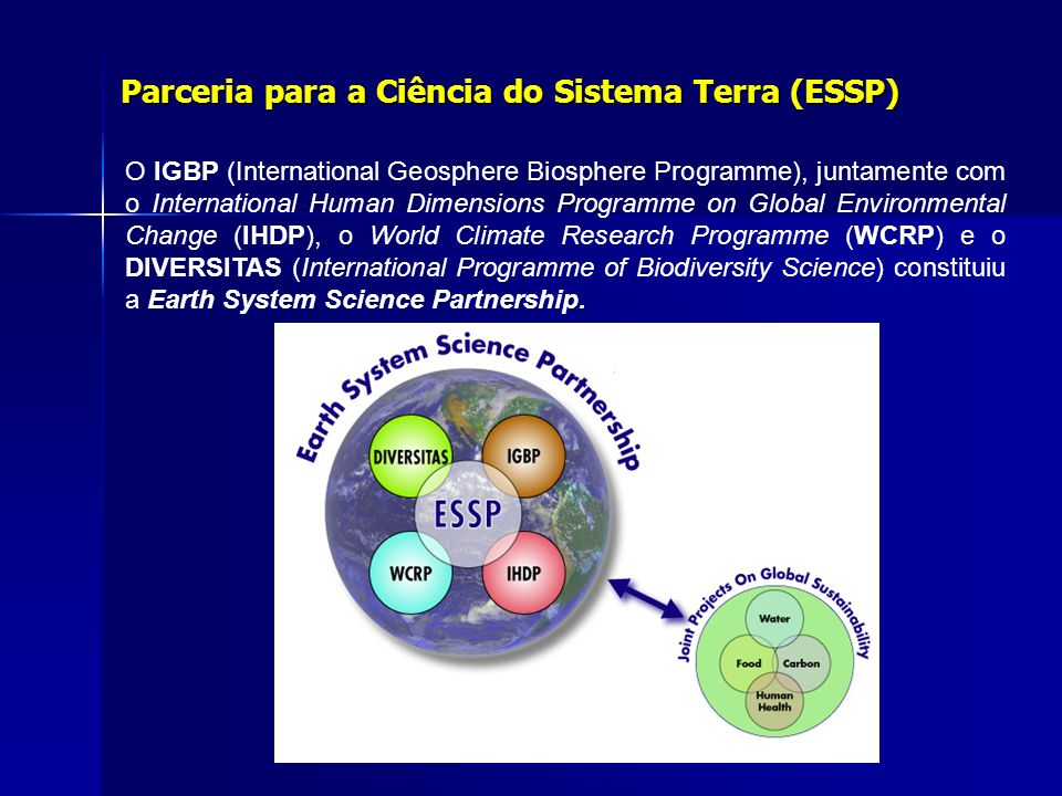 O IGBP (International Geosphere Biosphere Programme), juntamente com o International Human Dimensions Programme on Global Environmental Change (IHDP), o World Climate Research Programme (WCRP) e o DIVERSITAS (International Programme of Biodiversity Science) constituiu a Earth System Science Partnership.