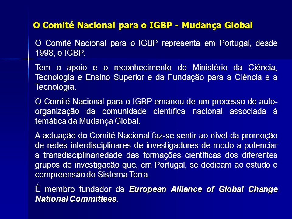 O Comité Nacional para o IGBP representa em Portugal, desde 1998, o IGBP. Tem o apoio e o reconhecimento do Ministério da Ciência, Tecnologia e Ensino