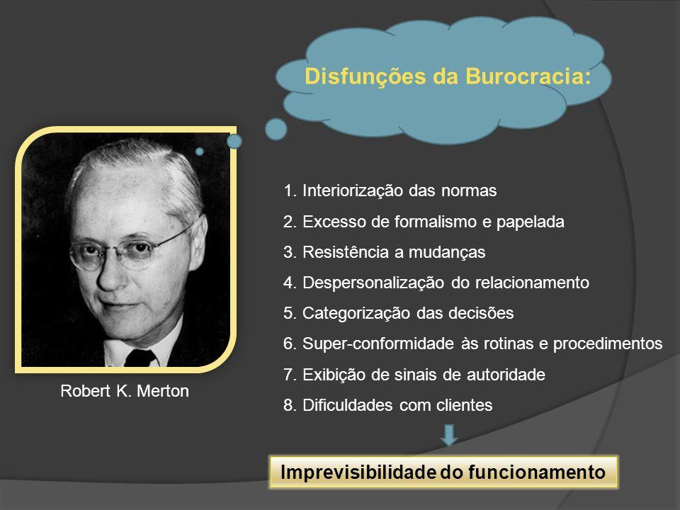 Disfunções da Burocracia: 1. Interiorização das normas 2. Excesso de formalismo e papelada 3. Resistência a mudanças 4. Despersonalização do relaciona