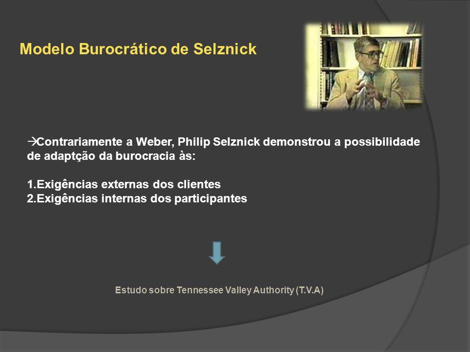 Modelo Burocrático de Selznick Contrariamente a Weber, Philip Selznick demonstrou a possibilidade de adaptção da burocracia às: 1.Exigências externas