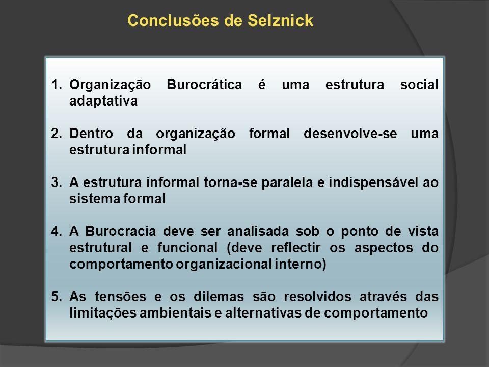 Conclusões de Selznick 1.Organização Burocrática é uma estrutura social adaptativa 2.Dentro da organização formal desenvolve-se uma estrutura informal