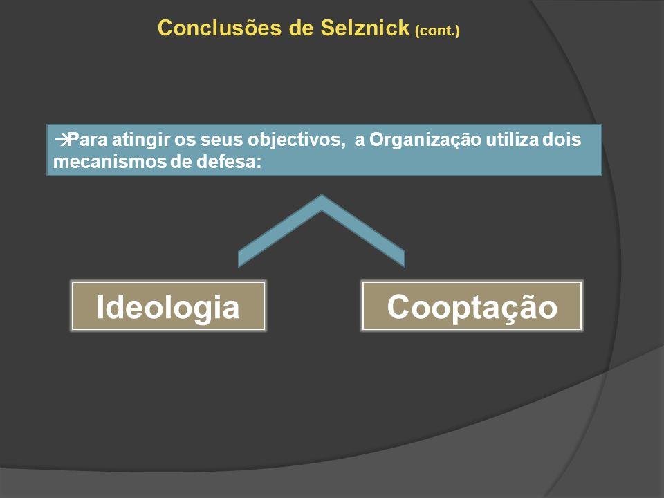 Conclusões de Selznick (cont.) Para atingir os seus objectivos, a Organização utiliza dois mecanismos de defesa: IdeologiaCooptação