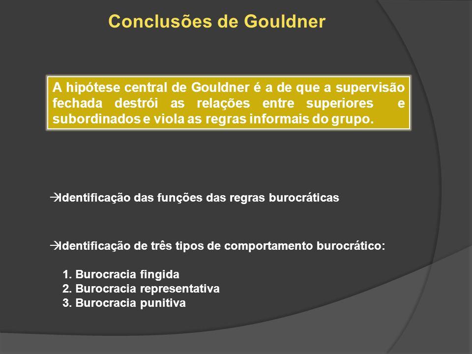 Conclusões de Gouldner A hipótese central de Gouldner é a de que a supervisão fechada destrói as relações entre superiores e subordinados e viola as r