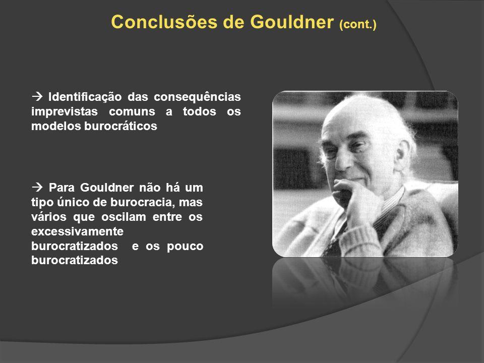Conclusões de Gouldner (cont.) Identificação das consequências imprevistas comuns a todos os modelos burocráticos Para Gouldner não há um tipo único d