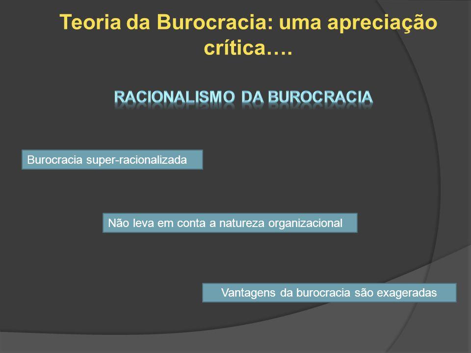 Teoria da Burocracia: uma apreciação crítica…. Burocracia super-racionalizada Não leva em conta a natureza organizacional Vantagens da burocracia são