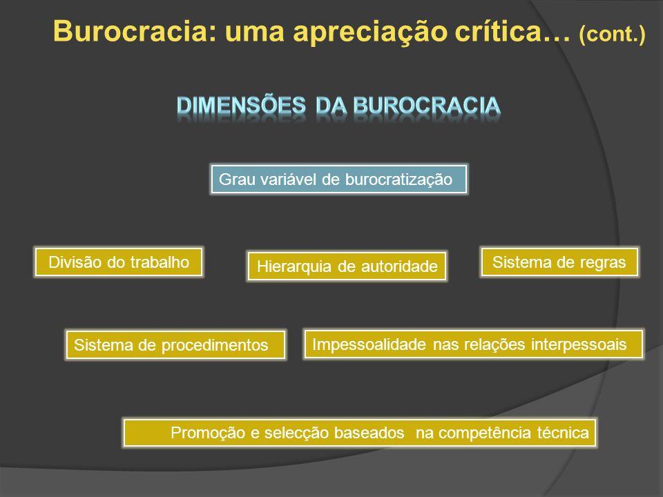 Burocracia: uma apreciação crítica… (cont.) Grau variável de burocratização Divisão do trabalho Hierarquia de autoridade Sistema de regras Sistema de