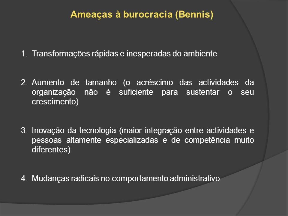 Ameaças à burocracia (Bennis) 1.Transformações rápidas e inesperadas do ambiente 2.Aumento de tamanho (o acréscimo das actividades da organização não