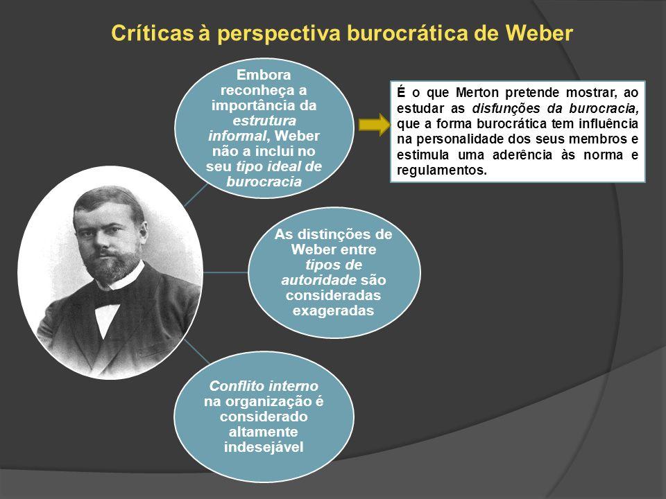 Críticas à perspectiva burocrática de Weber Embora reconheça a importância da estrutura informal, Weber não a inclui no seu tipo ideal de burocracia A