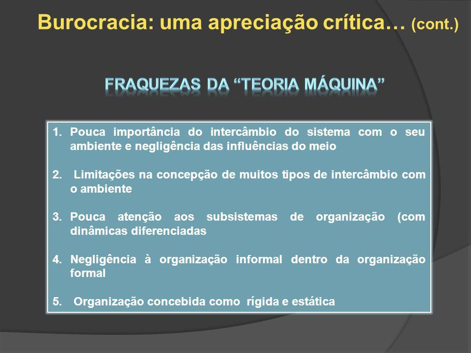 Burocracia: uma apreciação crítica… (cont.) 1.Pouca importância do intercâmbio do sistema com o seu ambiente e negligência das influências do meio 2.