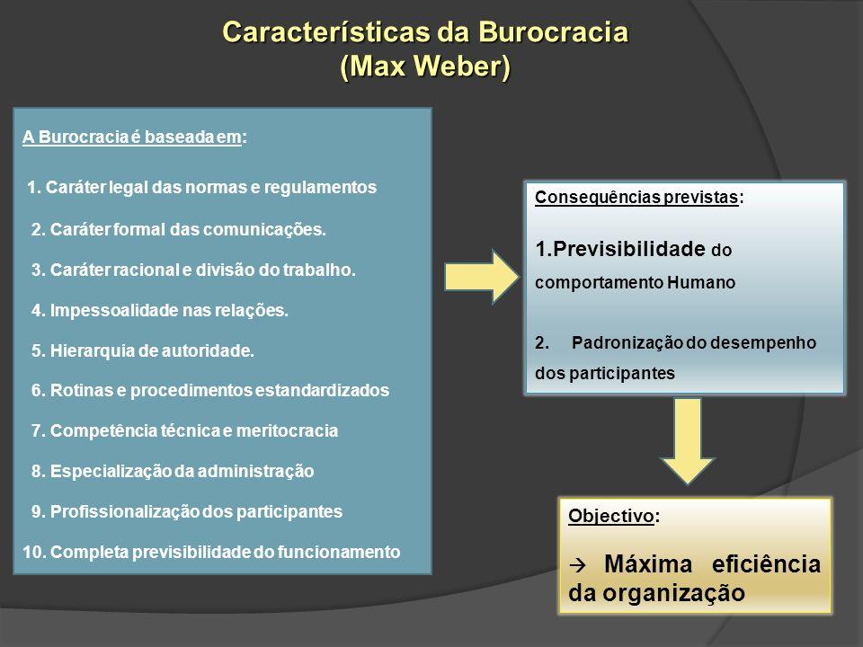 A Burocracia é baseada em: 1. Caráter legal das normas e regulamentos 2. Caráter formal das comunicações. 3. Caráter racional e divisão do trabalho. 4