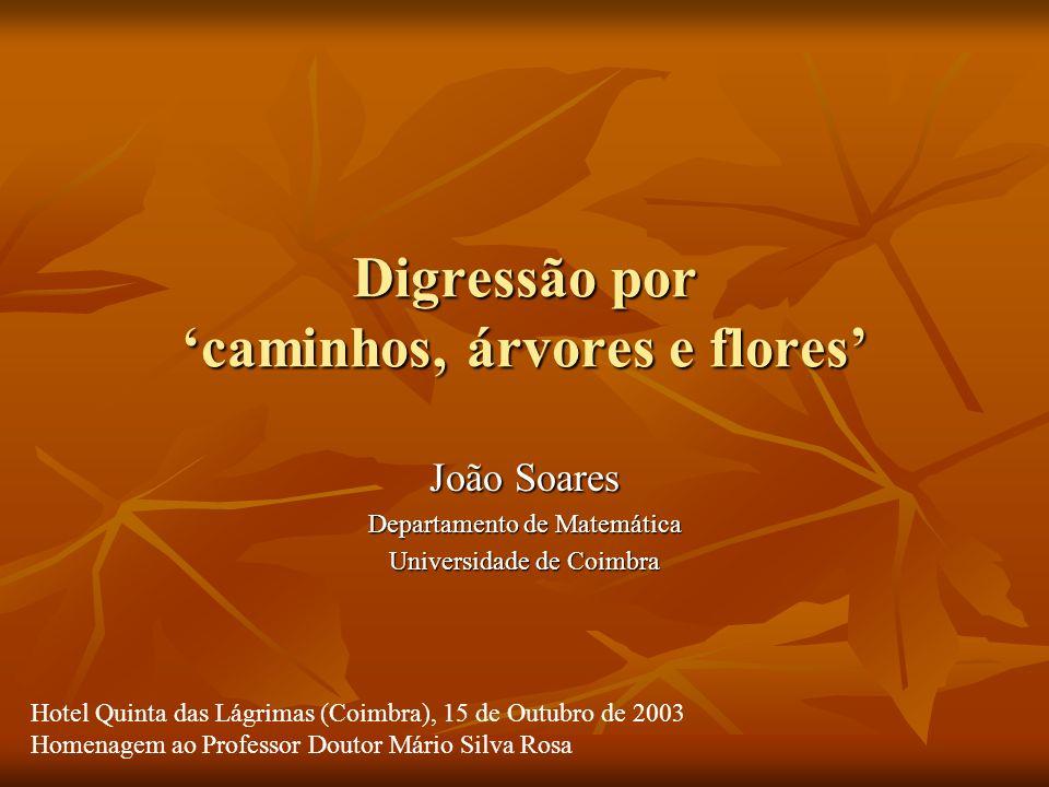 Digressão por caminhos, árvores e flores João Soares Departamento de Matemática Universidade de Coimbra Hotel Quinta das Lágrimas (Coimbra), 15 de Out