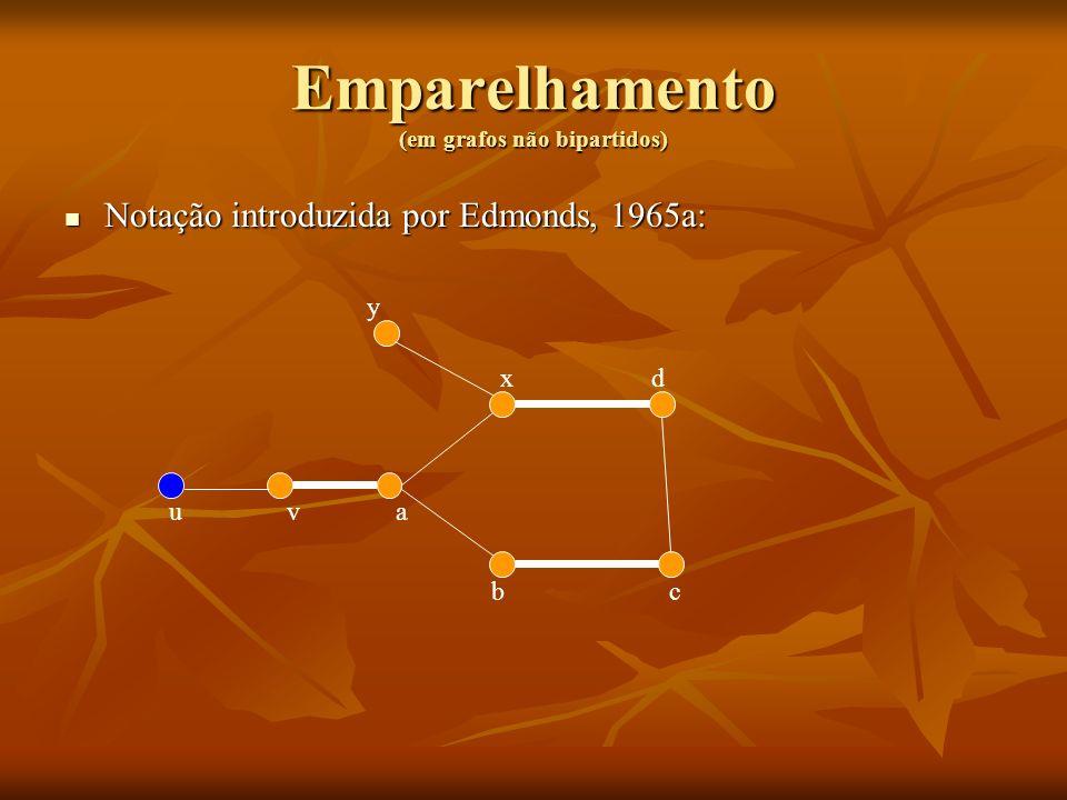 Emparelhamento (em grafos não bipartidos) Notação introduzida por Edmonds, 1965a: Notação introduzida por Edmonds, 1965a: uva bc dx y