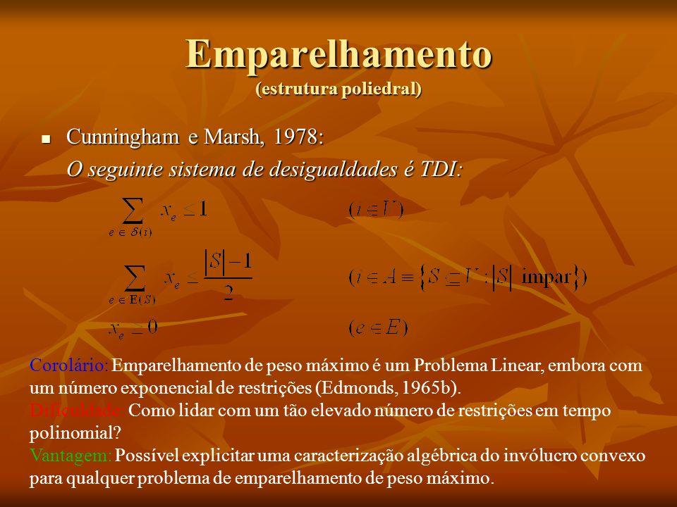 Emparelhamento (estrutura poliedral) Cunningham e Marsh, 1978: Cunningham e Marsh, 1978: O seguinte sistema de desigualdades é TDI: Corolário: Emparel