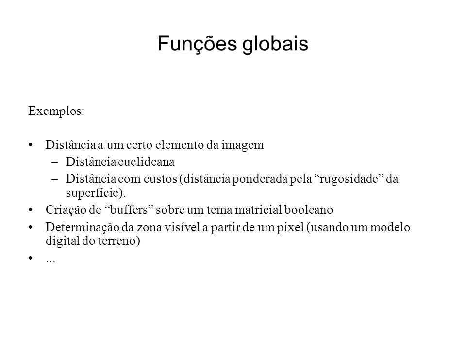 Funções globais Exemplos: Distância a um certo elemento da imagem –Distância euclideana –Distância com custos (distância ponderada pela rugosidade da