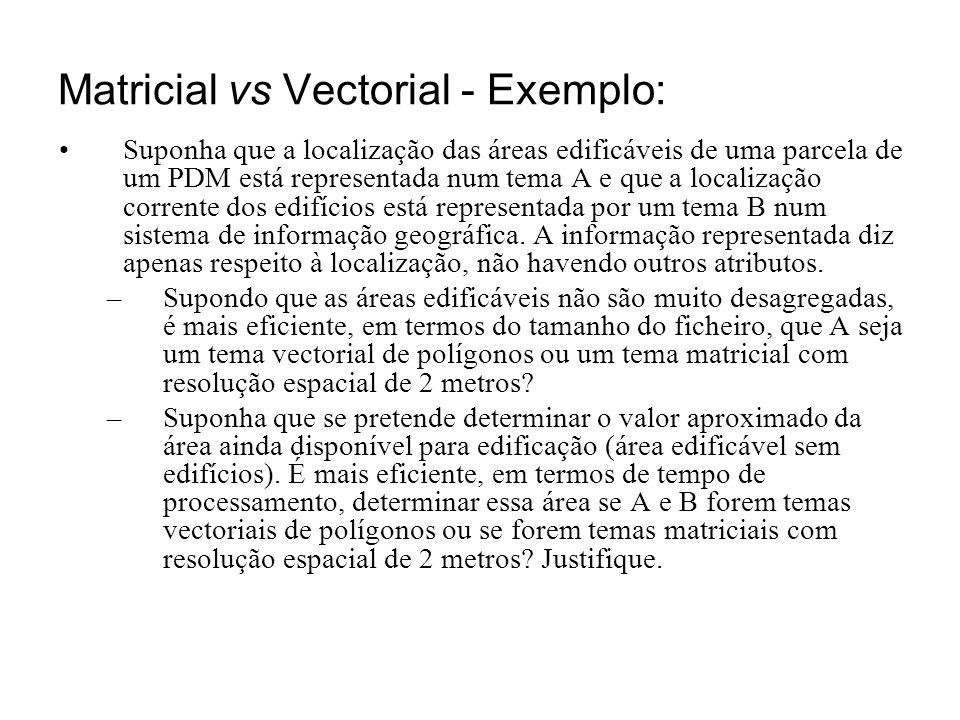 Matricial vs Vectorial - Exemplo: Suponha que a localização das áreas edificáveis de uma parcela de um PDM está representada num tema A e que a locali