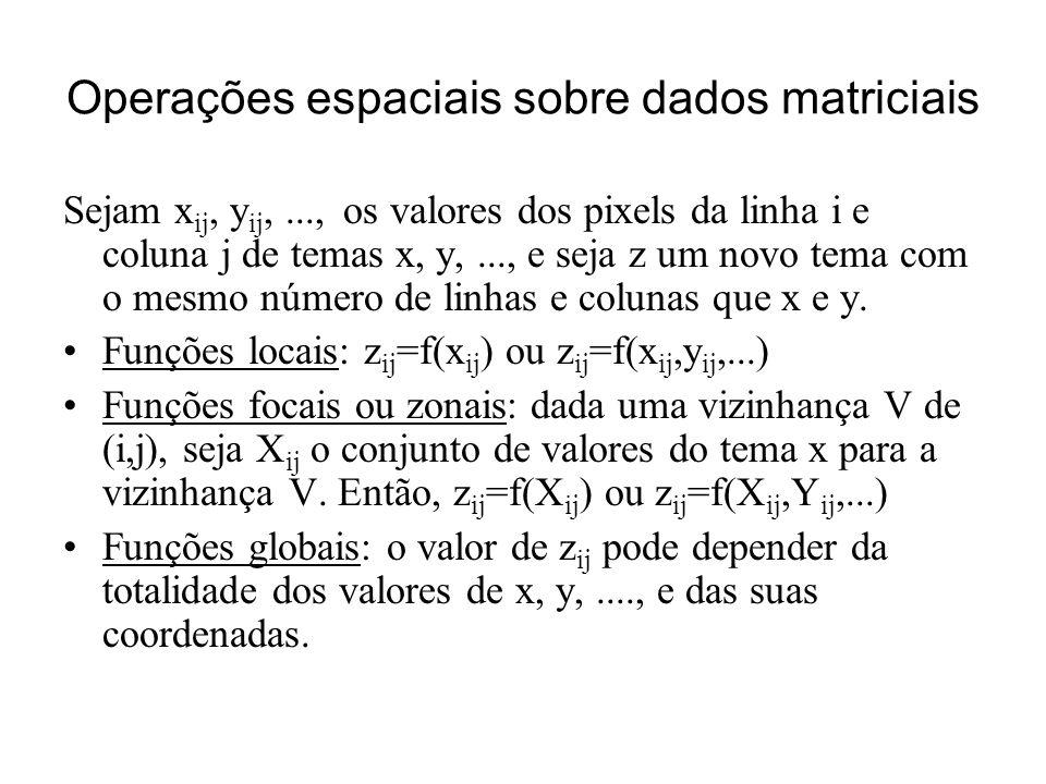 Operações espaciais sobre dados matriciais Sejam x ij, y ij,..., os valores dos pixels da linha i e coluna j de temas x, y,..., e seja z um novo tema