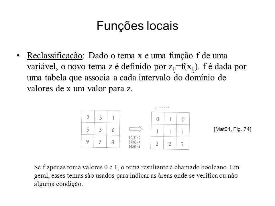 Funções locais Sobreposição matricial: dados dois temas matriciais x e y, o resultado da sobreposição é um tema matricial z tal que z ij =f(x ij,y ij ) para todo as linhas i e colunas j da imagem A função f pode ser +,-,*,max,min,operaçáo lógica,..., de acordo com o domínio de valores dos temas Exemplo: Seja A ij =1 se o pixel (i,j) corresponde a zonas de regadio e A ij =0 caso contrário e B ij =1 para zonas de milho e B ij =0 caso contrário.