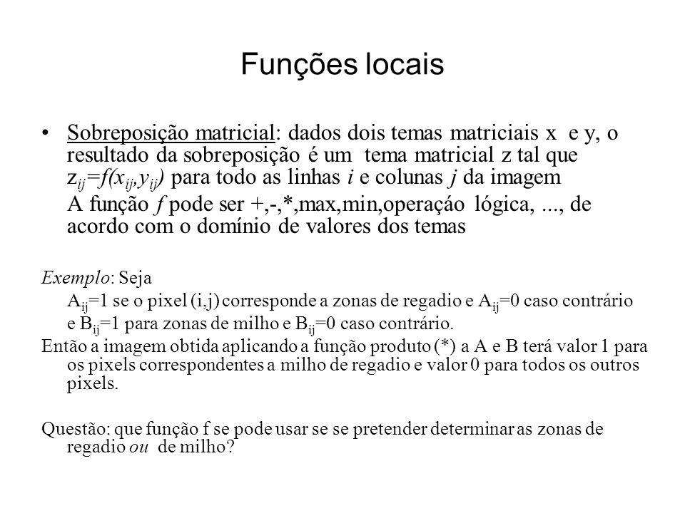 Funções locais Sobreposição matricial: dados dois temas matriciais x e y, o resultado da sobreposição é um tema matricial z tal que z ij =f(x ij,y ij