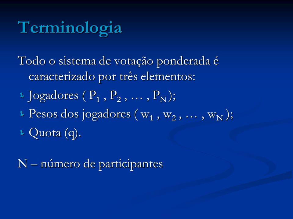 Terminologia Todo o sistema de votação ponderada é caracterizado por três elementos: Jogadores ( P 1, P 2, …, P N ); Jogadores ( P 1, P 2, …, P N ); P