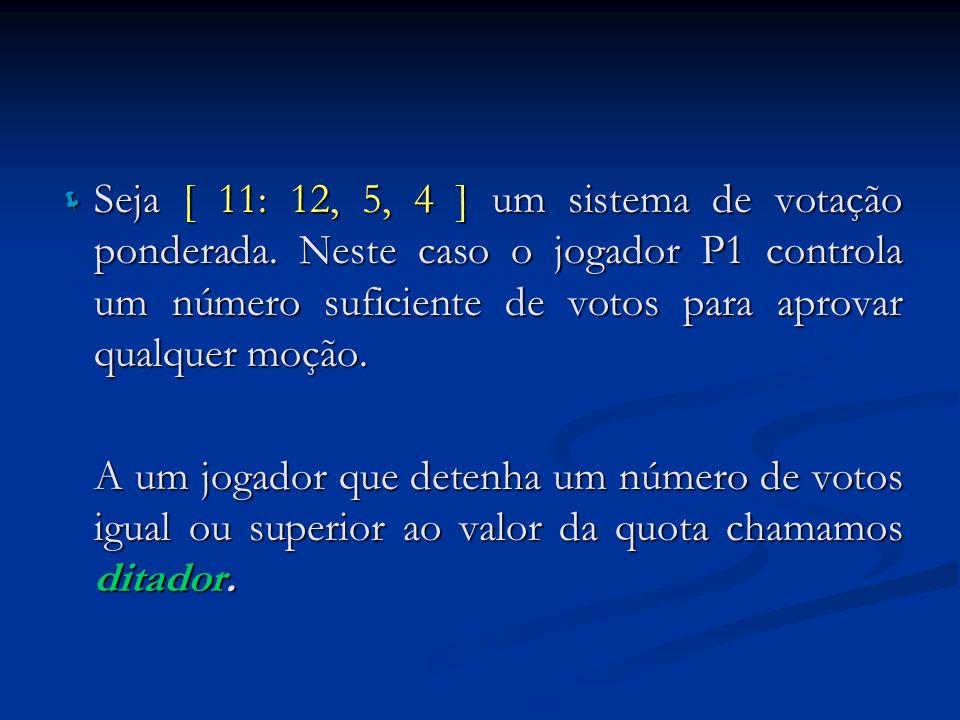 Seja [ 11: 12, 5, 4 ] um sistema de votação ponderada. Neste caso o jogador P1 controla um número suficiente de votos para aprovar qualquer moção. Sej
