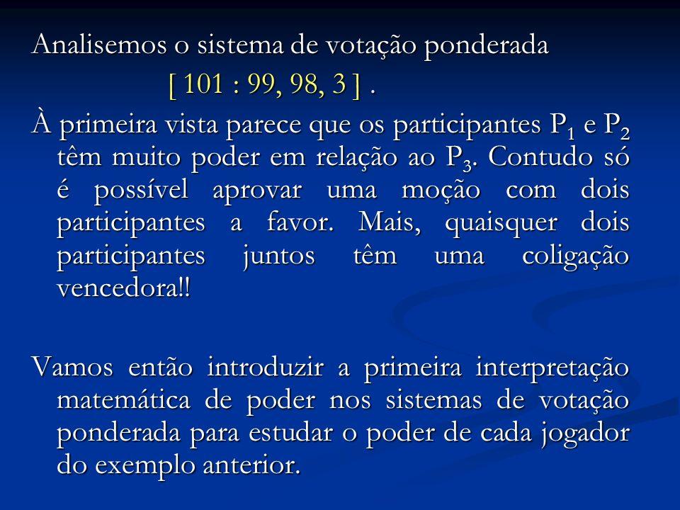 Analisemos o sistema de votação ponderada [ 101 : 99, 98, 3 ]. À primeira vista parece que os participantes P 1 e P 2 têm muito poder em relação ao P